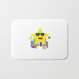 lucky star with poker chips Bath Mat