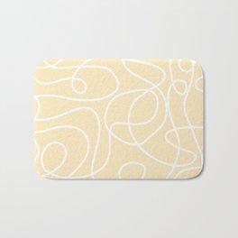 Doodle Line Art | White Lines on Soft Yellow Bath Mat