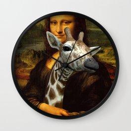 Mona Lisa Loves Giraffes Wall Clock