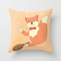 cook Throw Pillows featuring cook pancakes by 1ena