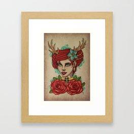 Antler Girl Framed Art Print