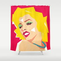 rowing Shower Curtains featuring pop art  by mark ashkenazi