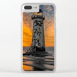 Talacre Beach Lighthouse Sunset Clear iPhone Case