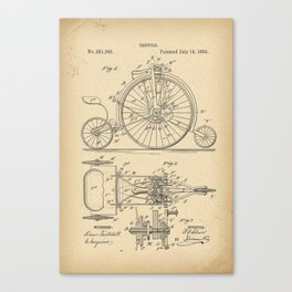 1882 Patent Velocipede Tricycle Bicycle archival history invention Canvas Print