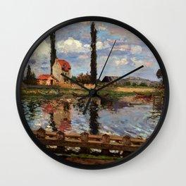 """Camille Pissarro """"Au bord de la Seine à Port Marly"""" (1871) Wall Clock"""