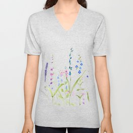 purple blue wild flowers watercolor painting Unisex V-Neck