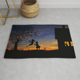 Cute Kids Playing In Swing In Garden House Silhouette Romantic Sunset Ultra HD Rug