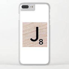 Scrabble Tile - Letter J - Letter Art Clear iPhone Case