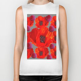 SUCCULENT PURPLE RASPBERRIES & ORANGE POPPIES ABSTRACT Biker Tank