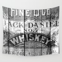 whiskey Wall Tapestries featuring Jack Daniel - Vintage Wiskey by Fernando Vieira