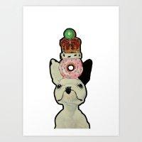 Dog with stuff on head Art Print