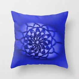 Oil on Rock -- deep blue Throw Pillow