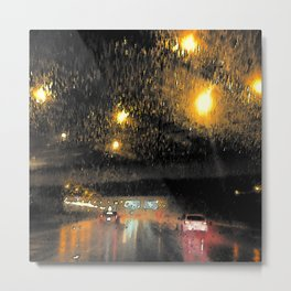 Rainy Night Commute Metal Print