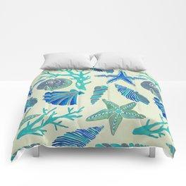 Blue Seashells Comforters