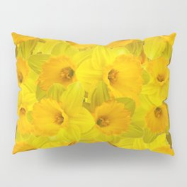 Olive Colored Golden Daffodile Floral Abundance Pillow Sham