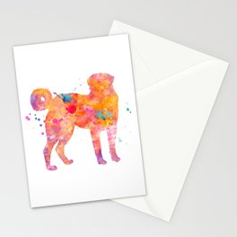 Akbash Dog Watercolor Orange Pink Abstract Stationery Cards