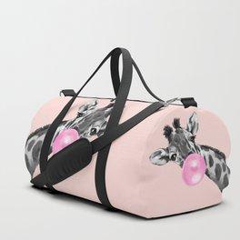 Bubble Gum Sneaky Giraffe Pink Duffle Bag