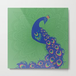 Colorful Peacock Art Print With Mandala Design Background Metal Print