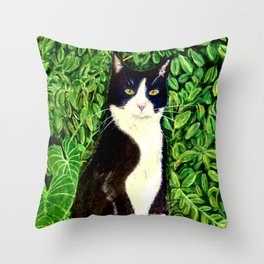 Kitty in the Woods Throw Pillow