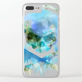 Watercolour Skull & Crossbones with Headphones. Clear iPhone Case
