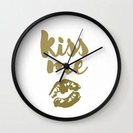 Kiss Me (white) Wall Clock