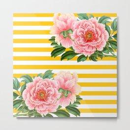 Pink Peonies Yellow Stripes Metal Print