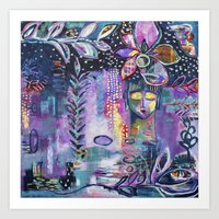flora bowley Art Prints featuring Winter Wish Original Painting by Flora Bowley by Flora Bowley