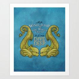Dive Deep - Gold Dolphins Art Print
