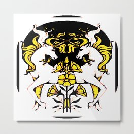 TWO UNICORNS & FLOWERS IN BLACK-GOLD ART Metal Print