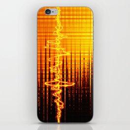 Sound wave orange iPhone Skin