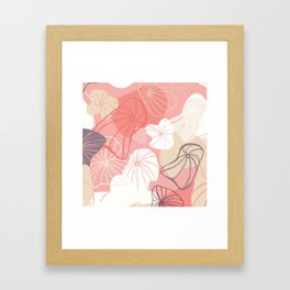 Large Abstract Dandelion Seeds Repeating Pattern on Orange Framed Art Print