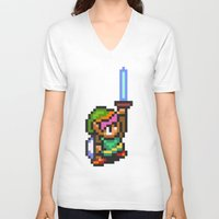 sword V-neck T-shirts featuring Master Sword by VGPrints