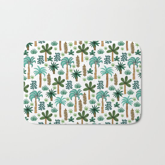 Tropics palm trees pattern print summer tropical vacation design by andrea lauren Bath Mat