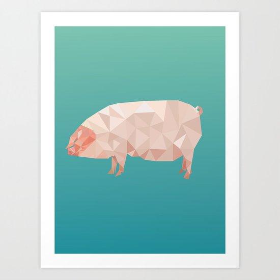 Geometric Pig Art Print
