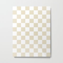 Checkered - White and Pearl Brown Metal Print