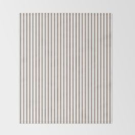 Mattress Ticking Narrow Striped Pattern in Chocolate Brown and White Throw Blanket