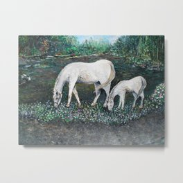 Dappled Mare with Dappled Foal Metal Print