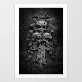 Three Skulls On A Tombstone Art Print