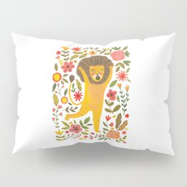 Little Lion King. Cute lion hand painted in gouache. Cute and fun animal. Wild animals illustration for home decor Pillow Sham