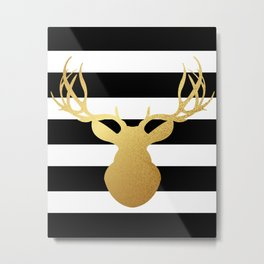 Deer head silhouette - Gold foil black and white stripe design Metal Print