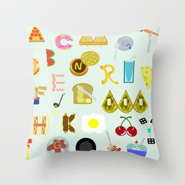 Food Font Throw Pillow