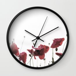 Morning Red Flowers Wall Clock