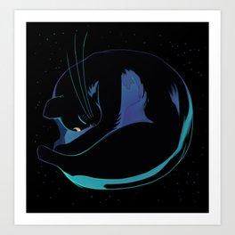 Sleeping MoonCat (fluorescent variant) Art Print
