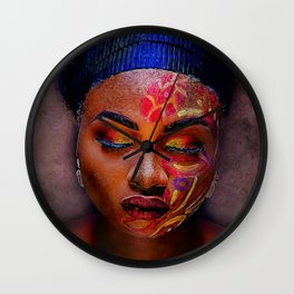 African American Portrait - The Color God Sees When He Closes His Eyes to Dream Wall Clock