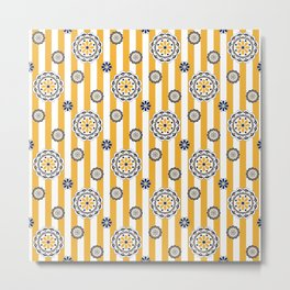 Mod Flowers on Stripes in Navy and Golden Yellow Metal Print