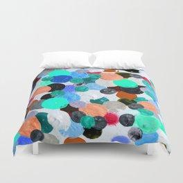 Aqua Rainbow Paint Drops Duvet Cover