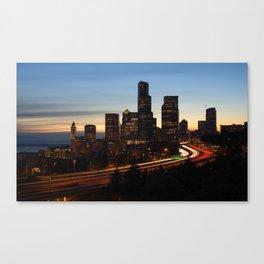 Seattle Skyline Sunset City Canvas Print