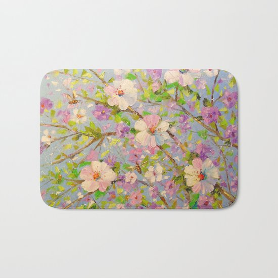 Apple tree in bloom Bath Mat