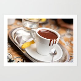 hot milk chocolate and ginger cookie Art Print