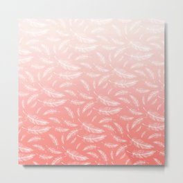 Girly Feathers Pattern Pastel Pink Coral Ombre Metal Print